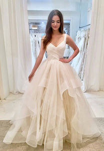 White tulle long long prom dress, evening dress