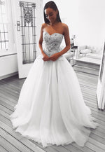 White sweetheart long A line prom dress