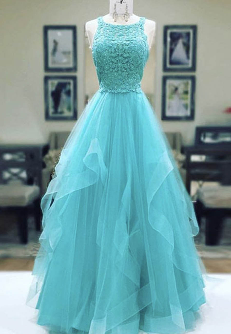 Stylish tulle lace long prom dress evening dress