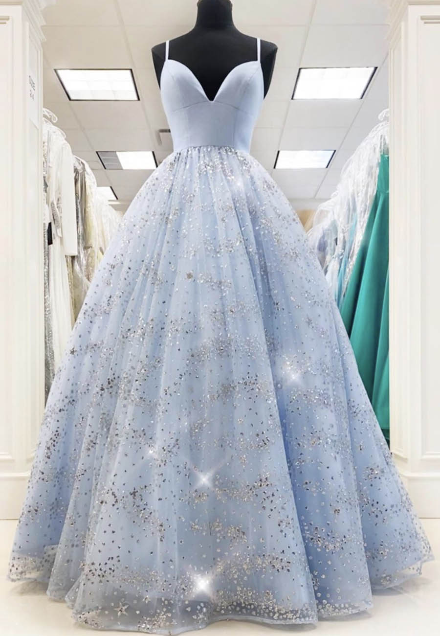 Blue tulle sequins prom dress formal dress