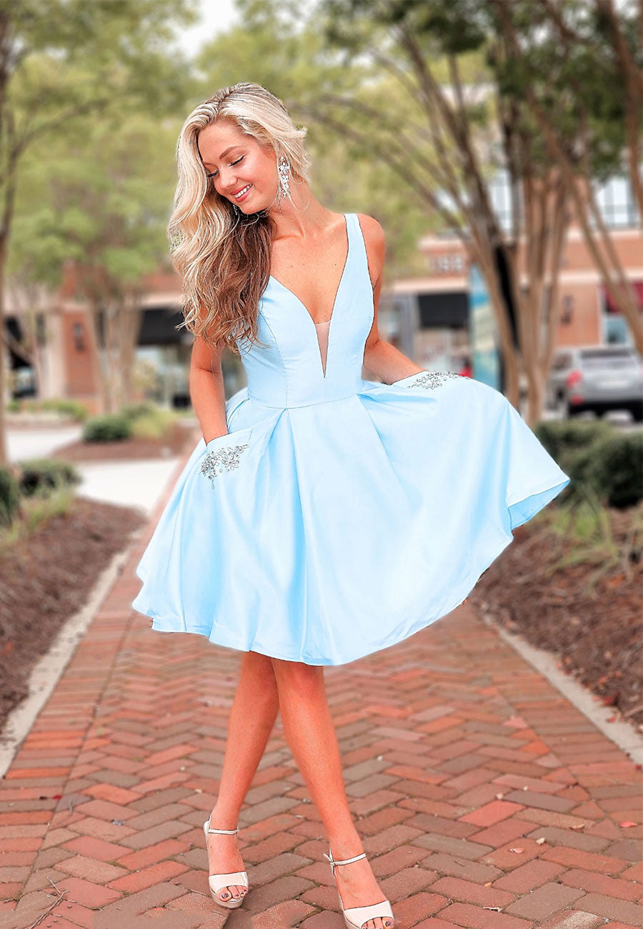 Light blue satin short prom dress hoco dress