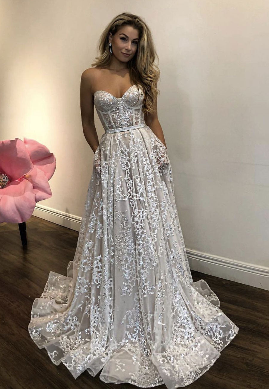 Ivory prom dress, beautiful lace evening dress