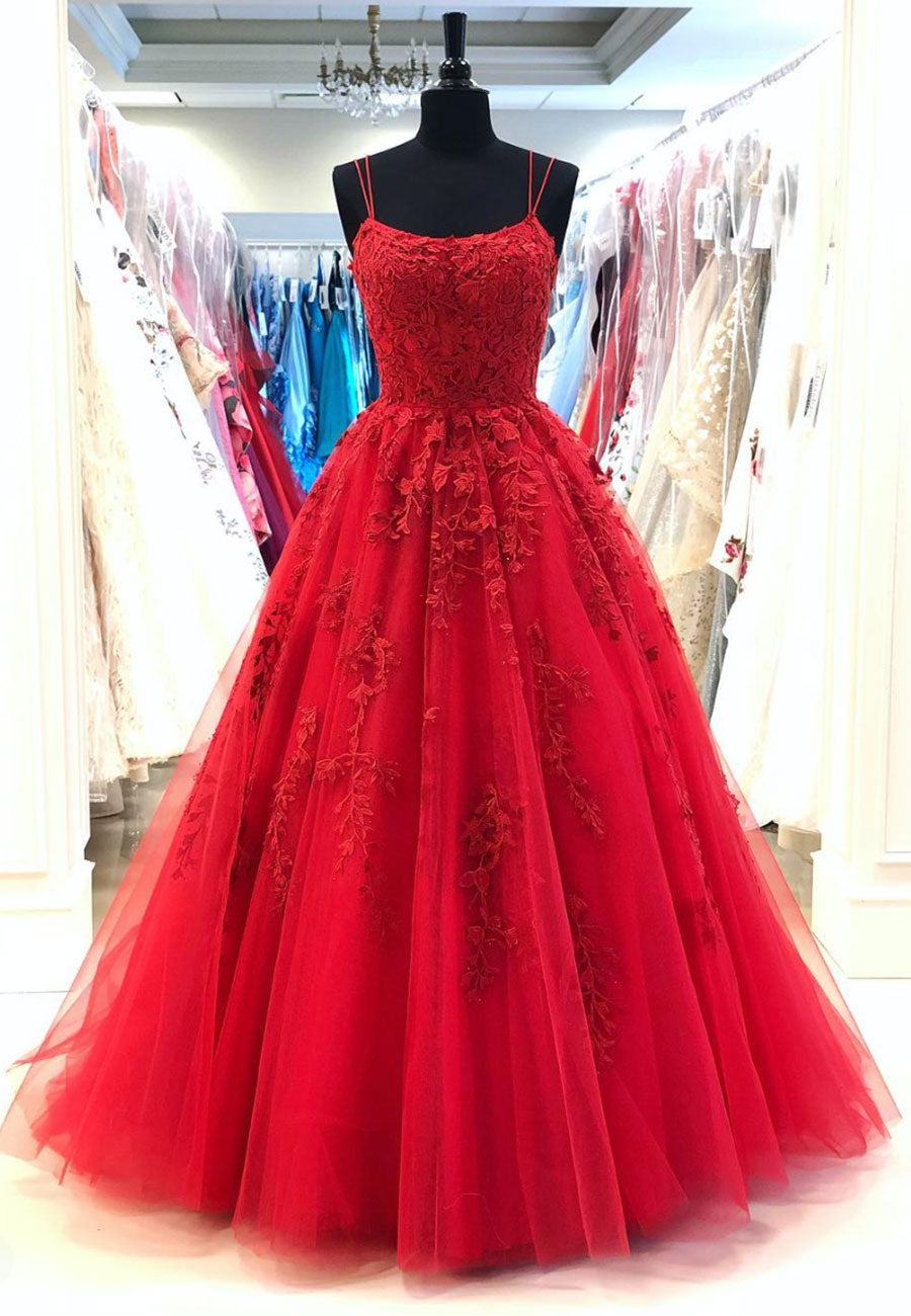 Burgundy lace long  prom gown formal gown