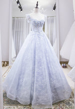 Light blue A-line lace tulle long prom dress