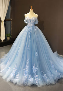 Blue lace long a line prom gown, evening dress