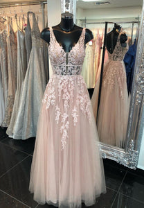 Pink v neck tulle lace long a line prom dress