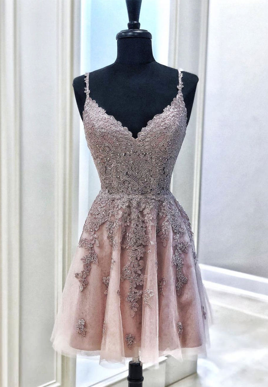 Lovely v neck lace short prom dress cocktail dress