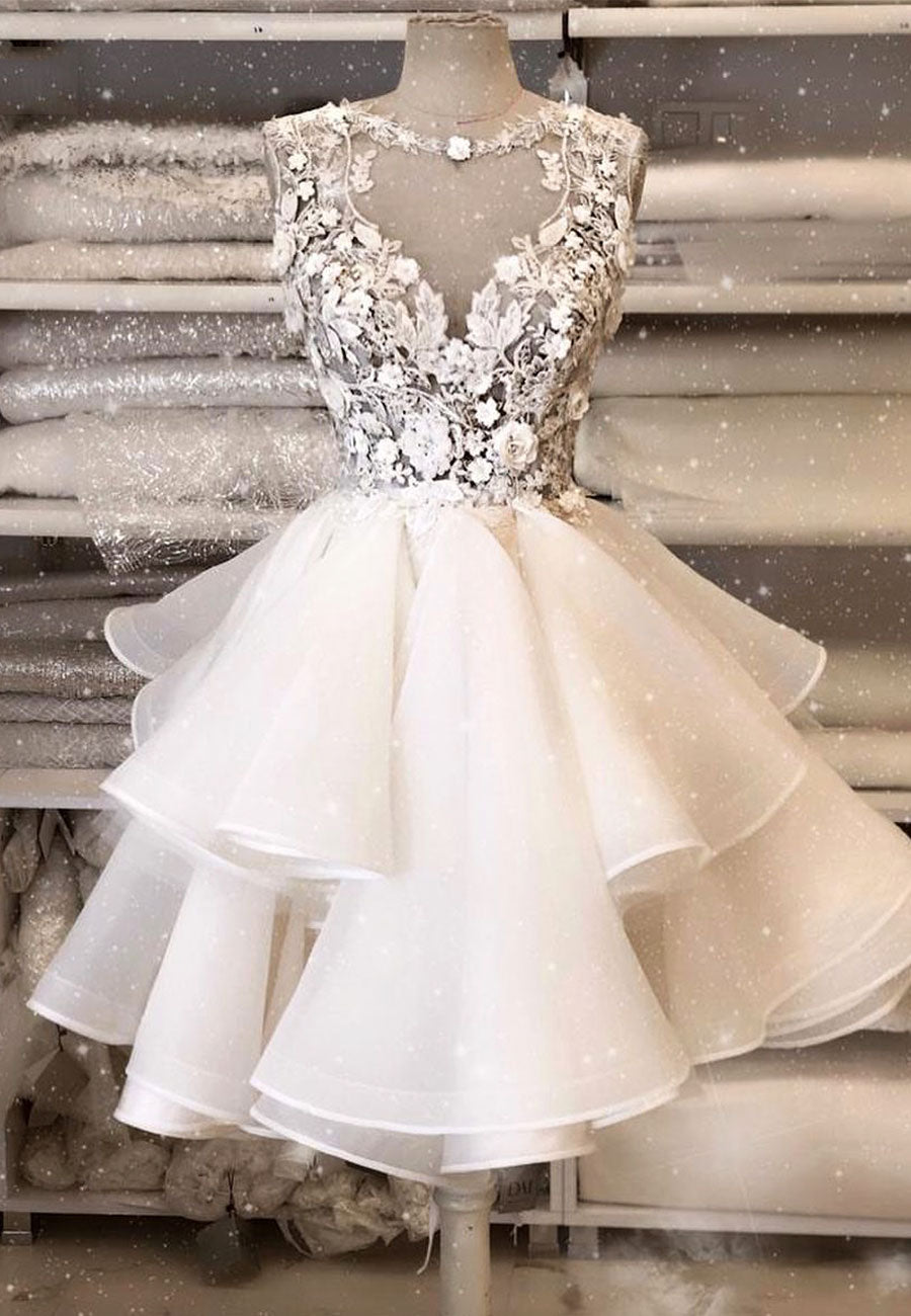 White lace tulle short prom dress hoco dress