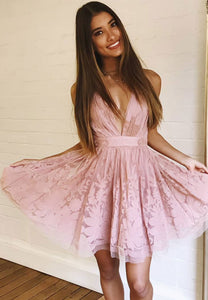 Pink tulle lace short prom dress party dress