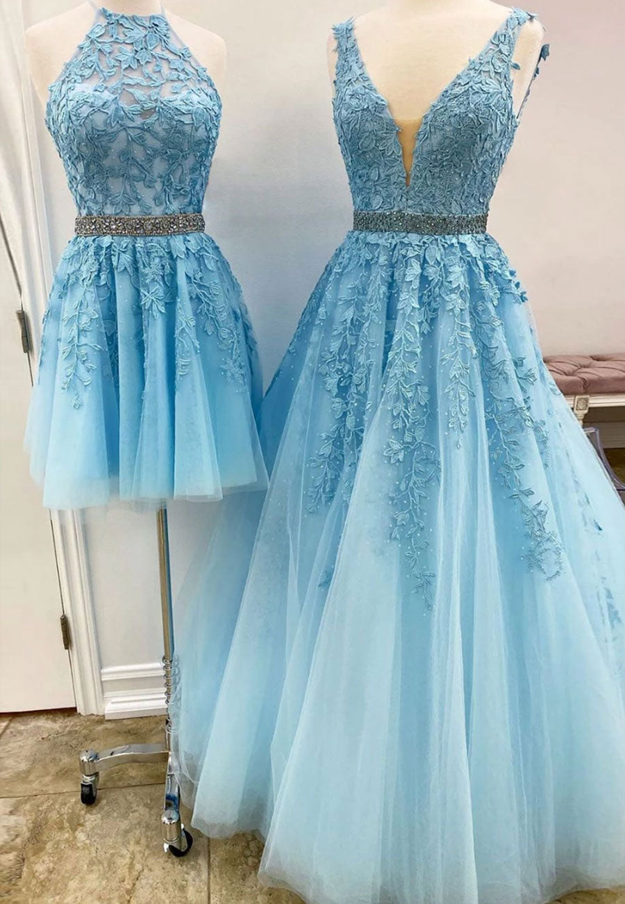 Blue tulle lace a line prom dress party dress