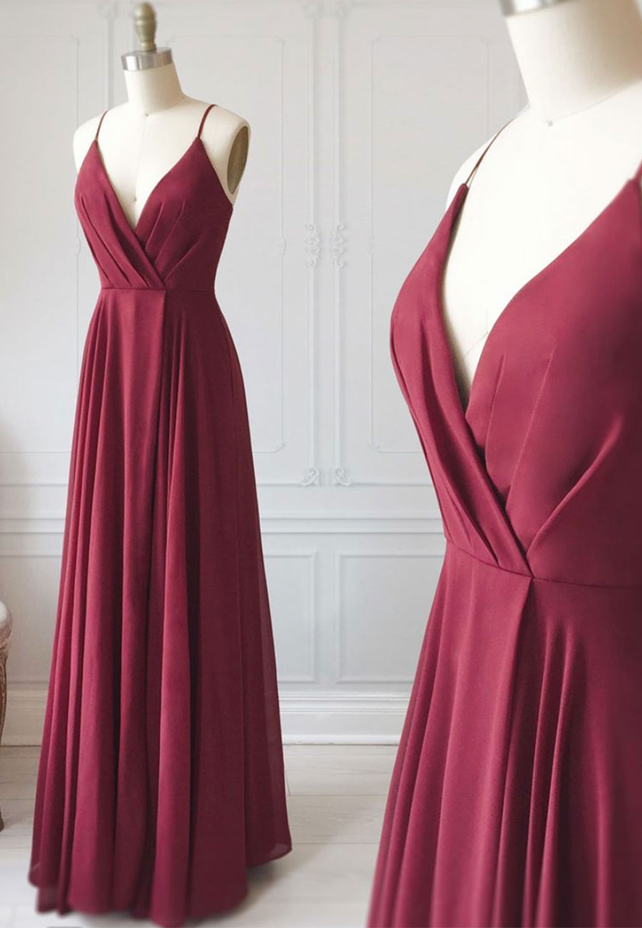 Burgundy v neck chiffon long a line prom dress