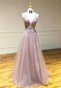 Pink v neck lace long prom dress evening dress