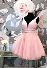 Pink v neck tulle short a line prom dress