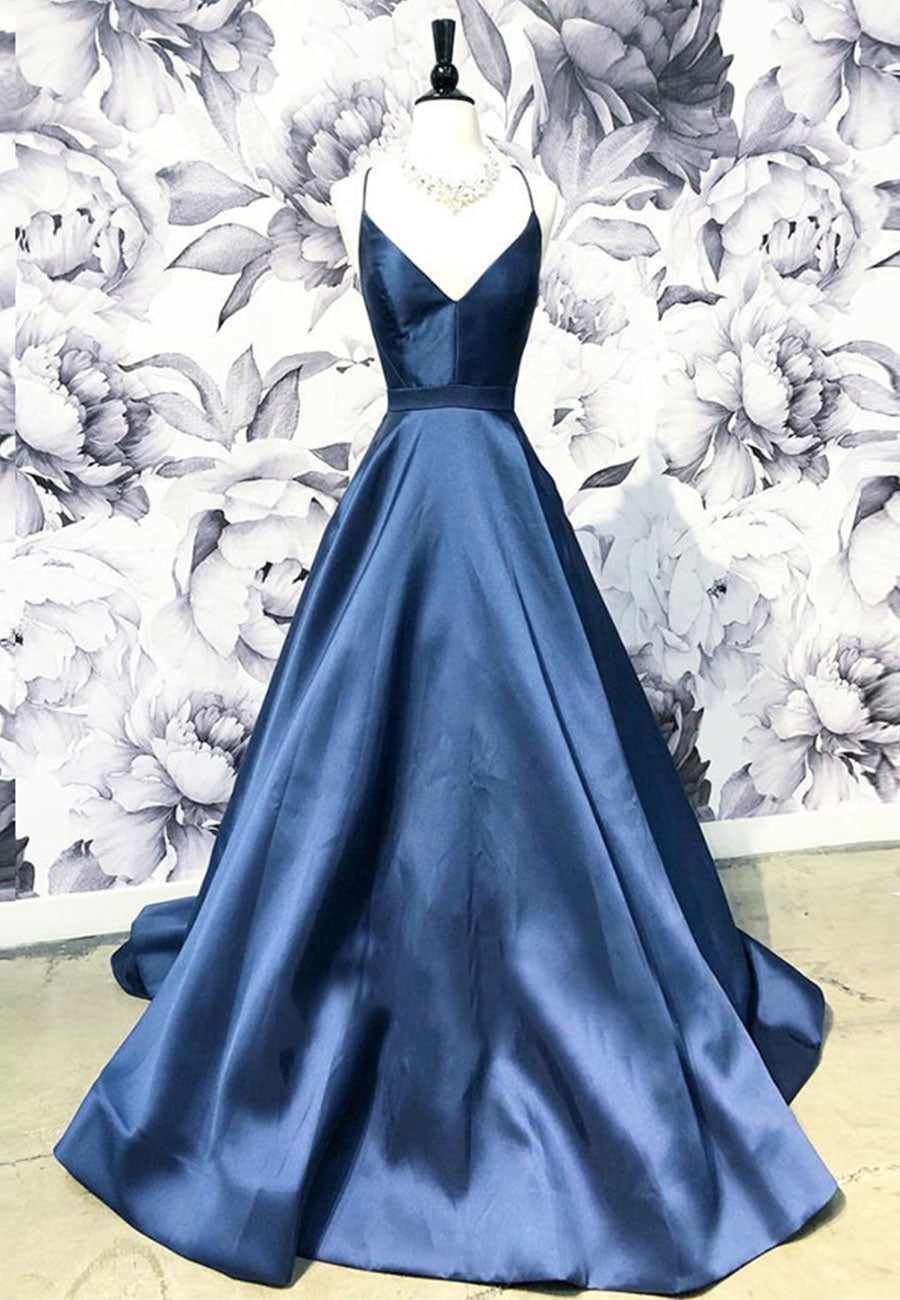 Dark blue satin long prom dress evening dress