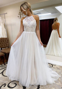 White tulle lace long prom gown evening dress