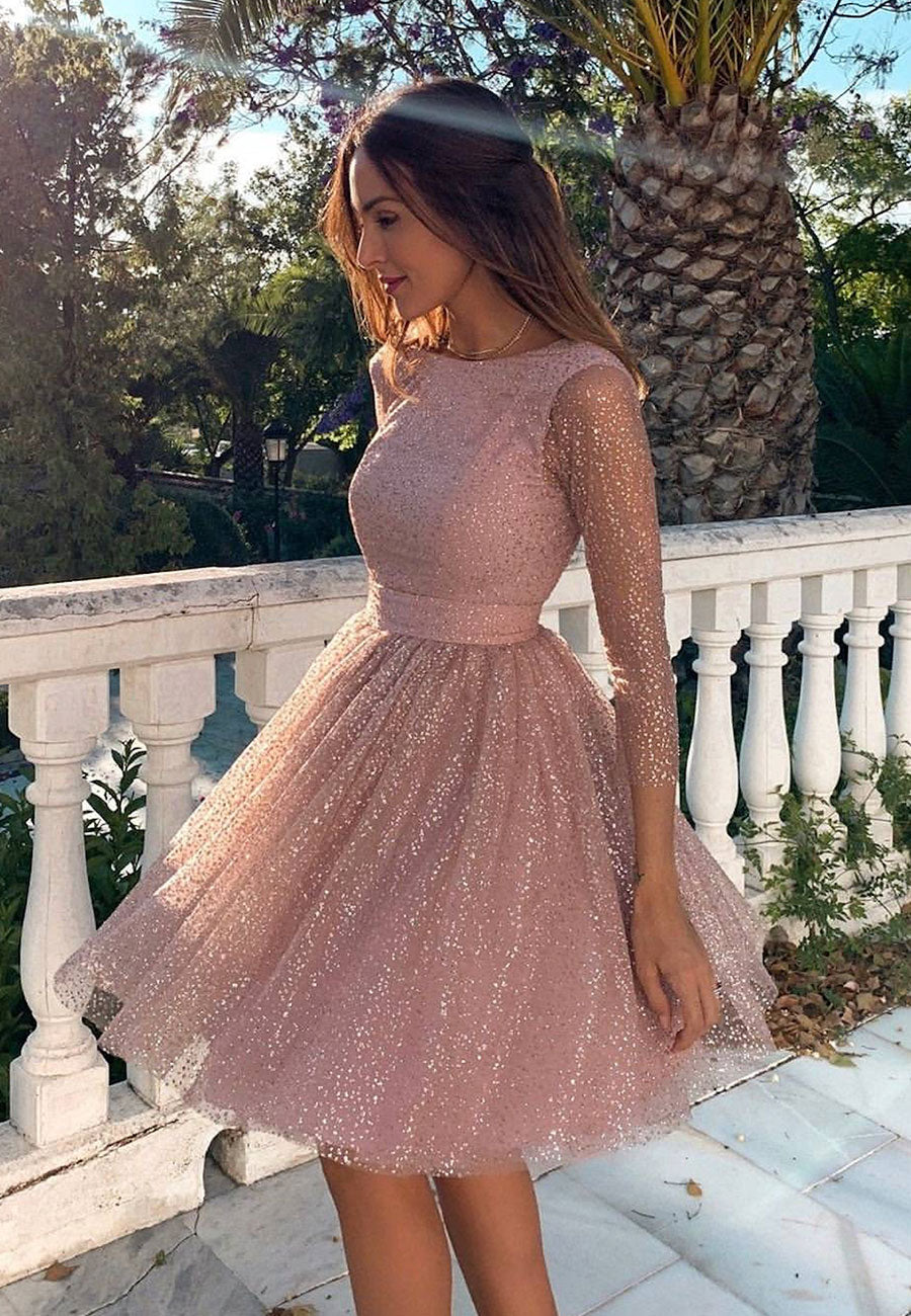 Shiny sequins short pink ball gown hoco dress