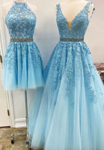 Blue tulle lace prom dress blue evening dress