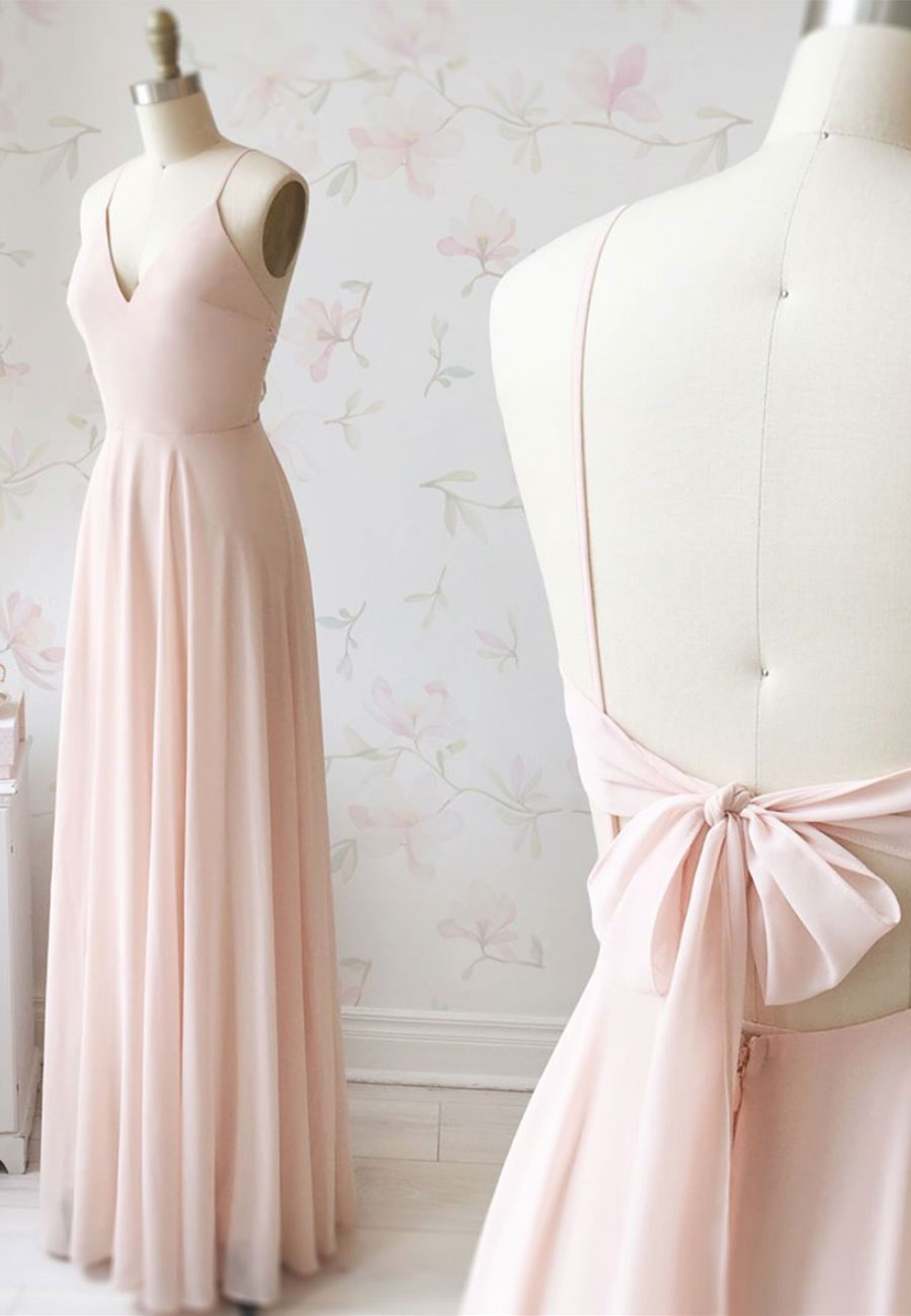 Cute pink v neck chiffon long a line prom dress
