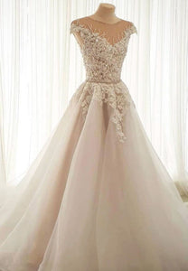 Elegant tulle lace long prom gown formal gown