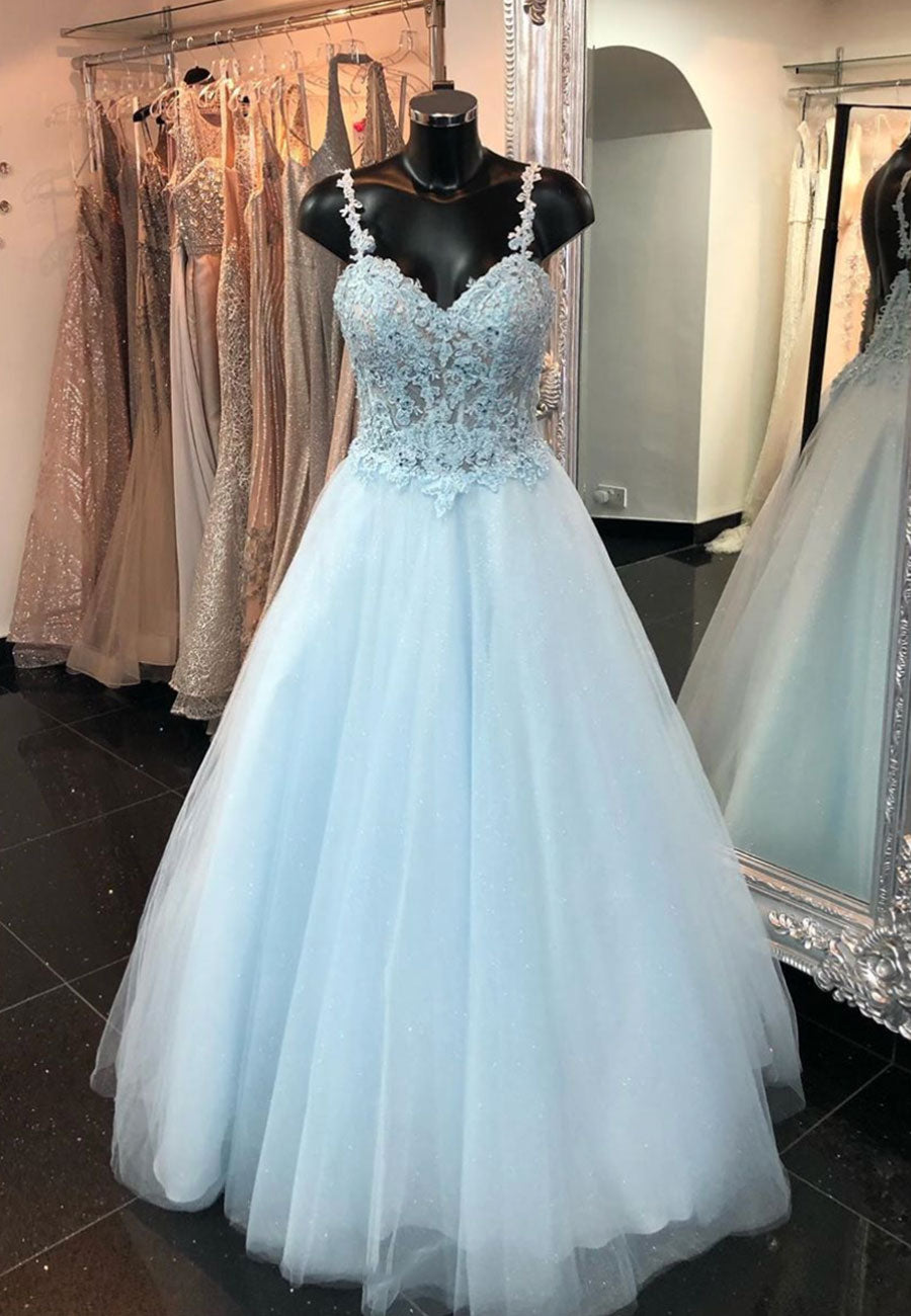Light blue tulle lace long prom dress party dress