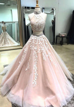 Princess two piece pink long a line prom dress
