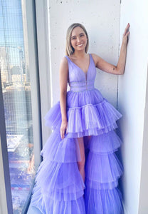 Purple tulle high low prom dress party dress