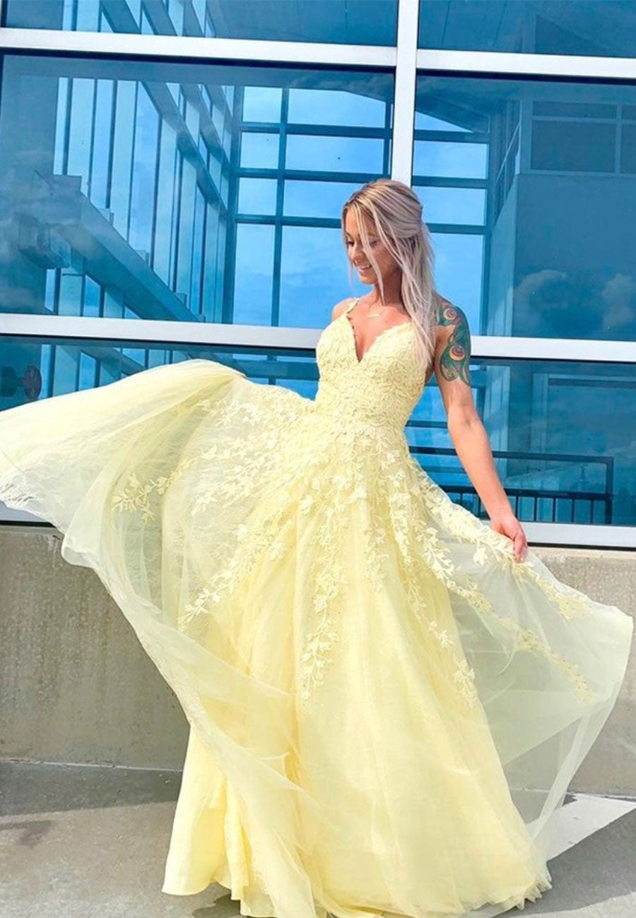 Yellow v neck tulle lace prom dress evening dress