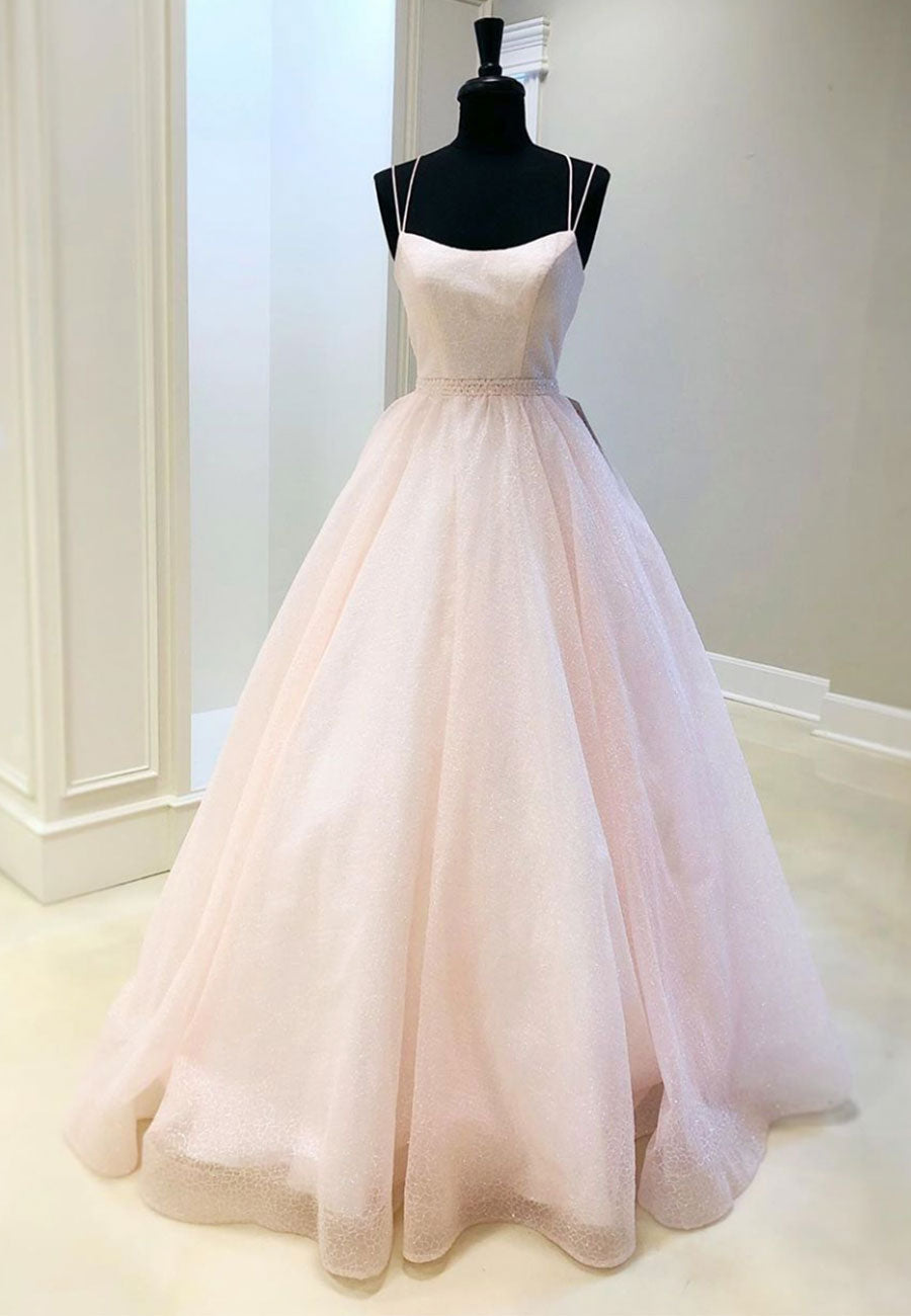Pink v neck tulle long prom gown formal dress