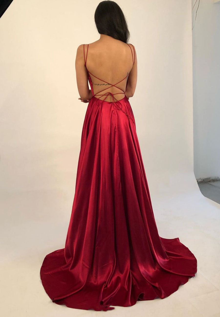 Simple satin long a line prom dress evening dress