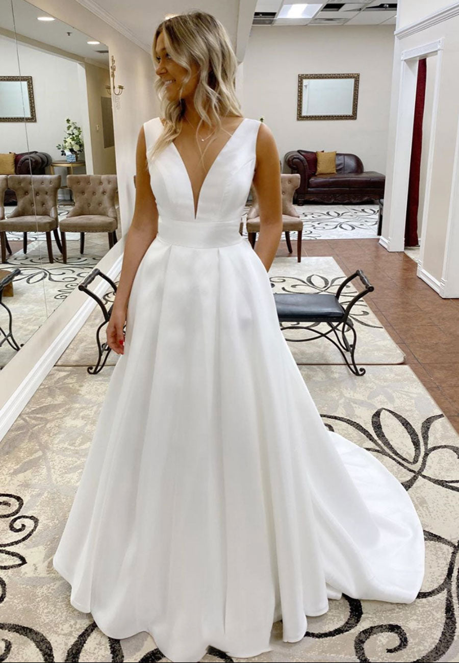 White satin v neck long prom dress evening dress