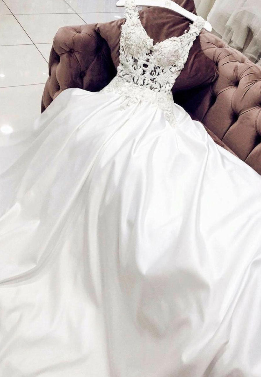 White satin lace long prom dress, wedding dress
