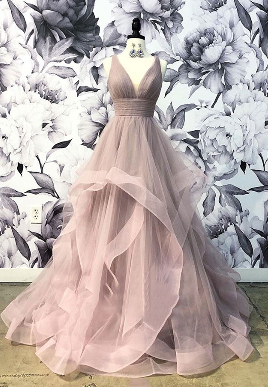 Light pink v neck tulle long a line prom dress