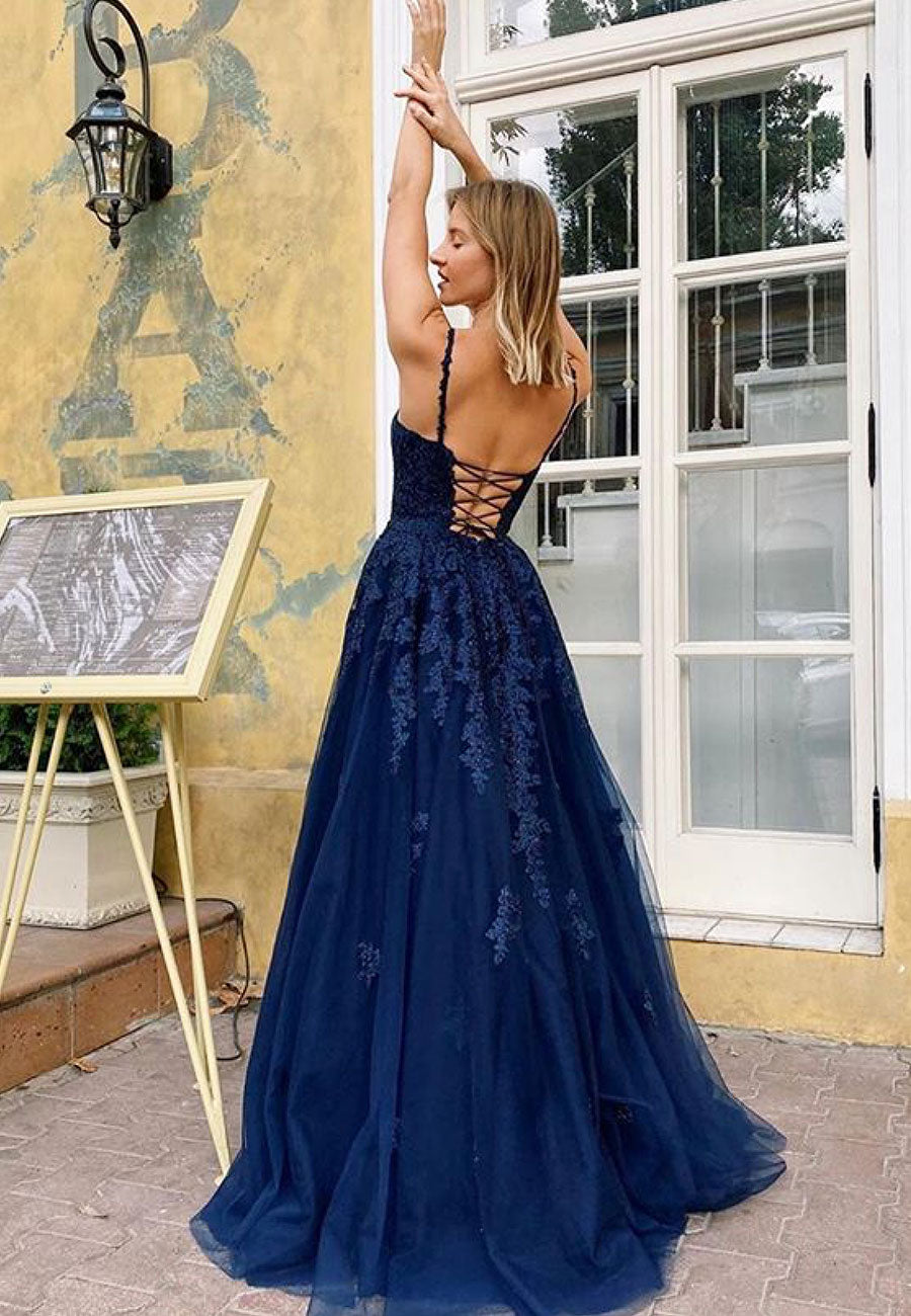 Dark blue tulle lace long prom dress party dress