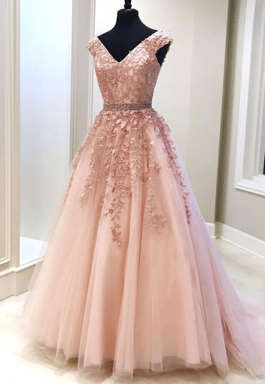 Pink v neck lace long prom gown evening dress