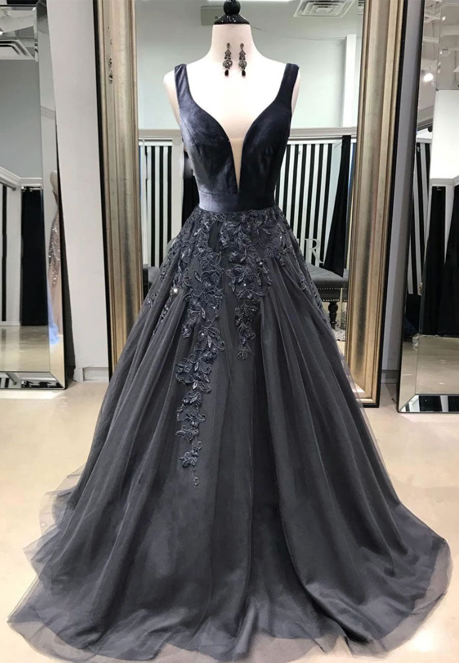Black v neck tulle lace long a line prom dress