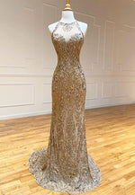 Gold sequins mermaid long prom dress