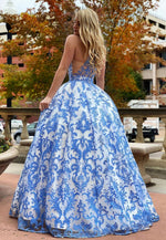 Blue tulle lace long prom gown evening dress