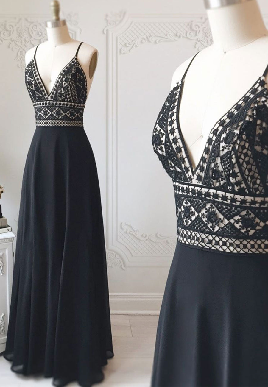 Black chiffon long prom dress lace evening dress
