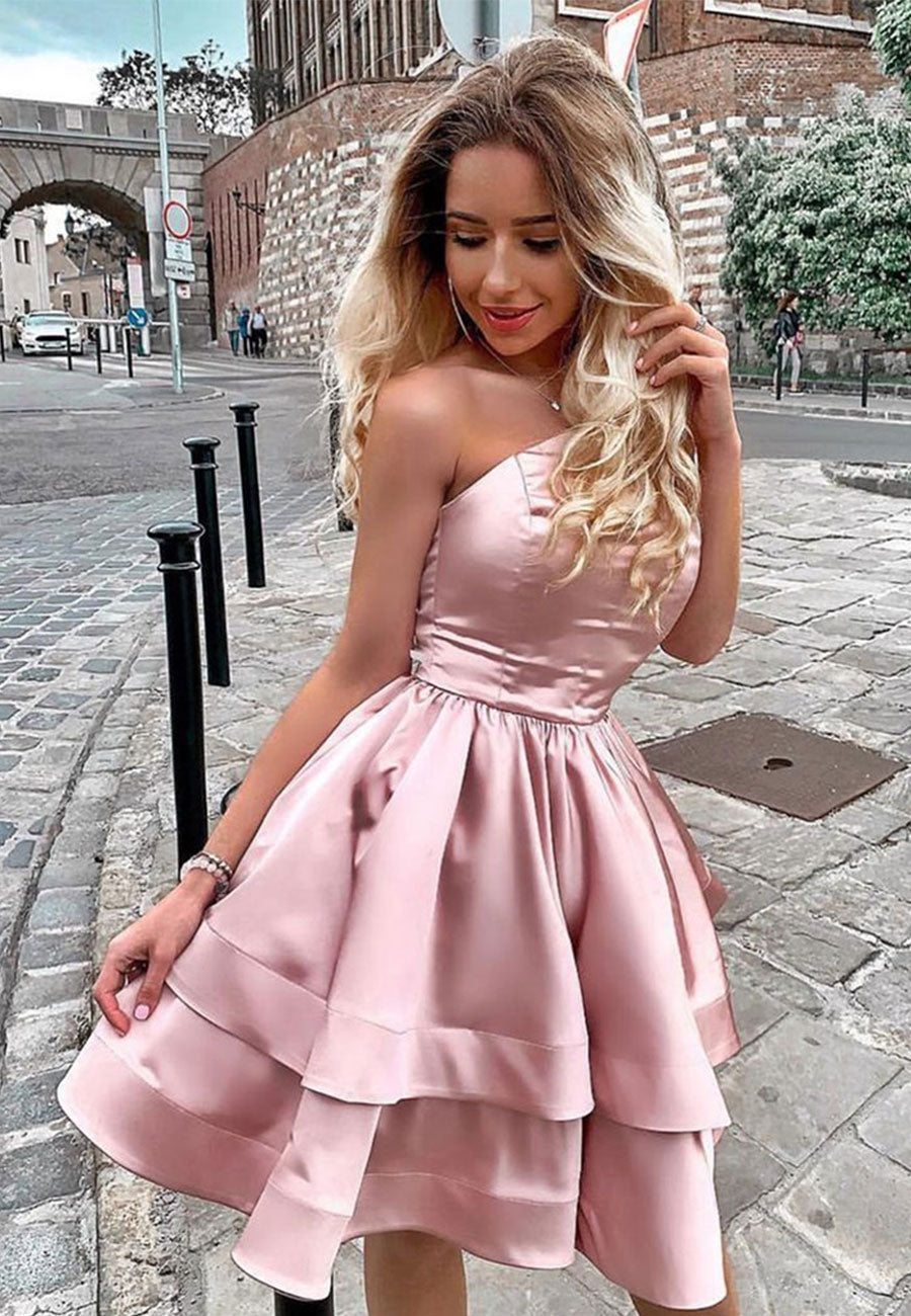 Cute pink satin one-shoulder short ball gown