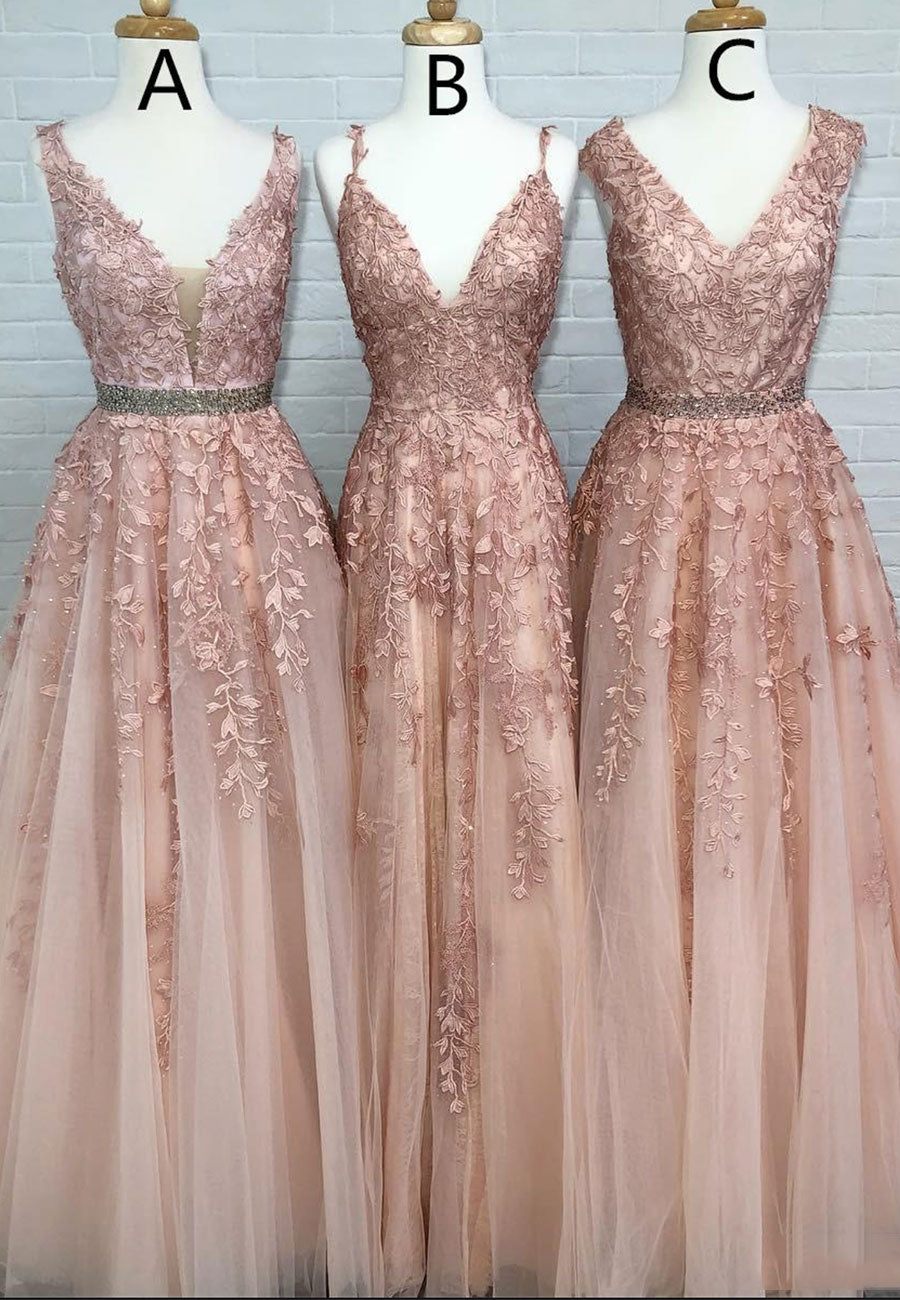 Princess pink v neck lace long a line prom dress