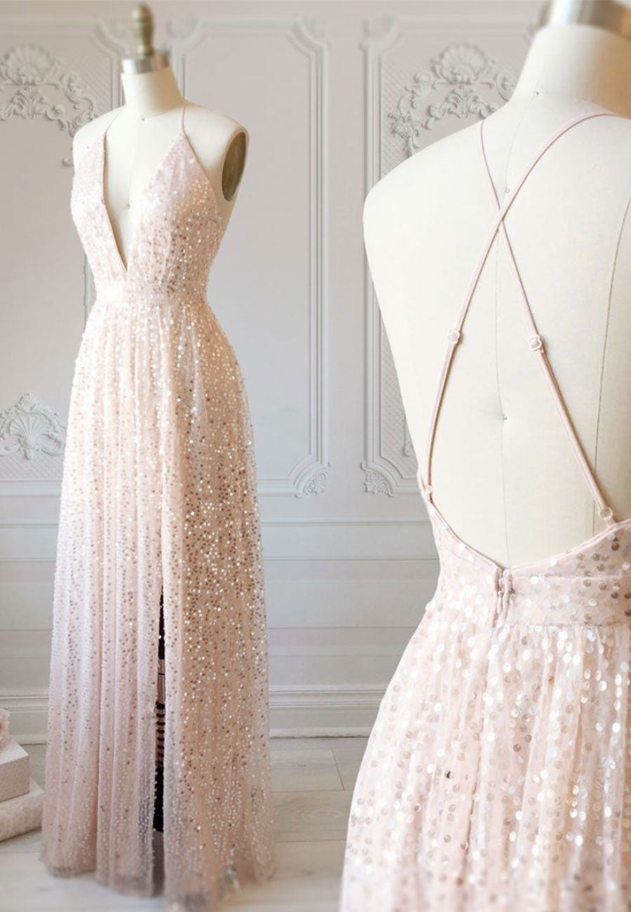 Sparkling tulle sequins long a line prom dress