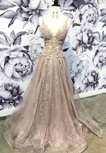 Sparkling v neck tulle sequins long prom dress