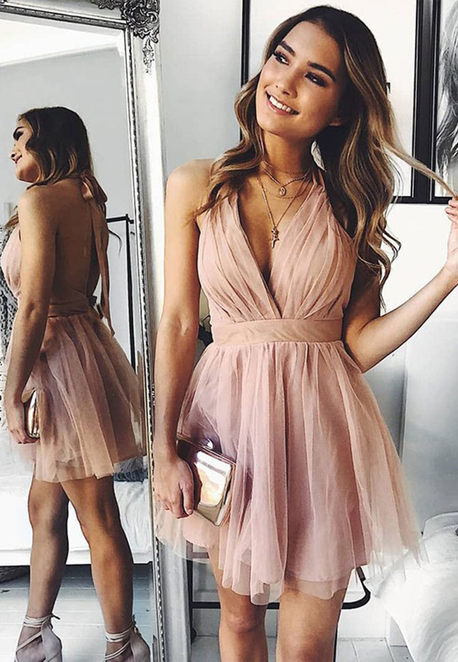 Pink tulle short a line prom dress party dress