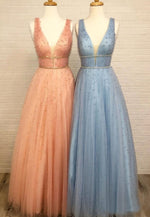 Light blue v neck long tulle pearls prom dress
