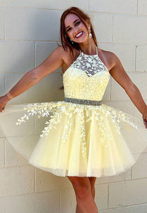 Yellow tulle lace short prom dress party dress