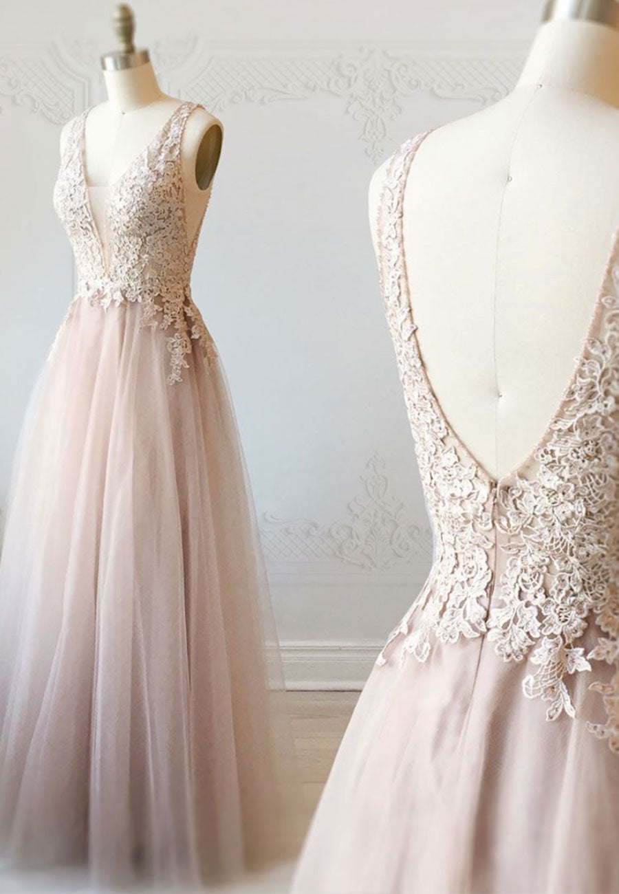 Cute v neck tulle lace prom dress evening dress