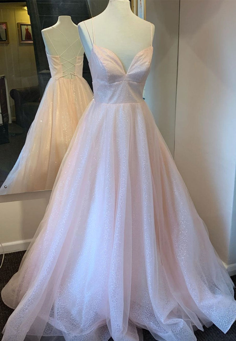Pink v neck tulle long prom dress party dress
