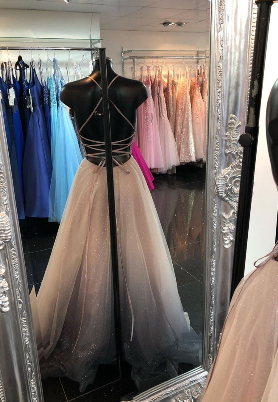Gray v neck tulle long prom dress evening dress
