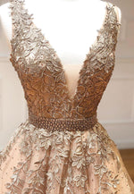 v neck lace long gold ball gown formal gown