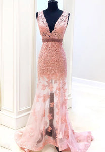 Mermaid lace long pink prom dress formal gown